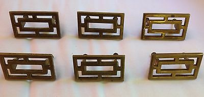 Set of 6 Vintage Sturdy Solid Rectangle Asian Brass Drawer Pull Handles