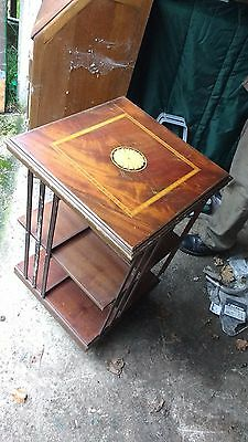 Victorian Antique Wooden Rotating Bookcase Book Stand Shelf Inlaid
