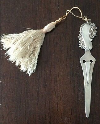ANTIQUE SOLID STERLING SILVER TROWEL with Tassel BOOKMARK BEAUTIFUL CONDITION