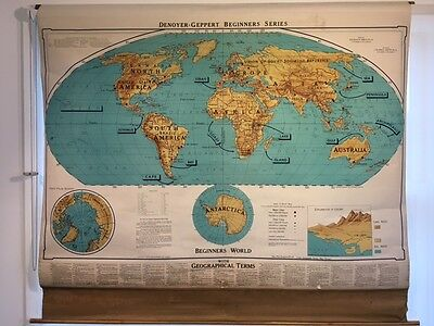 1963 Cavas-Backed Pull-Down Beginner's World School Map with Geographical Terms