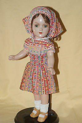 "Very Pretty Early Vintage 1938 13"" Debu'teen Composition Doll Tin Eyes"