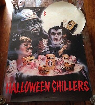 Vintage Coors Halloween Chillers Poster - 1984 - New - Dracula - Witch - Rare