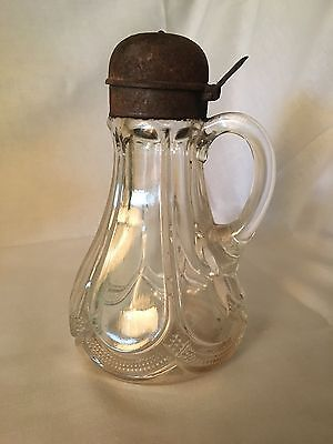 Antique Glass Syrup Pitcher With Lid