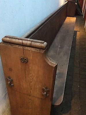 Double ended Antique Oak Church Pew with brass fixings 11.5 feet ft