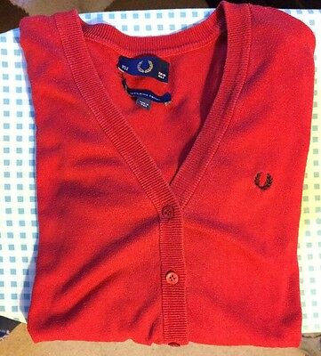 Fred Perry Red Cardigan UK 8