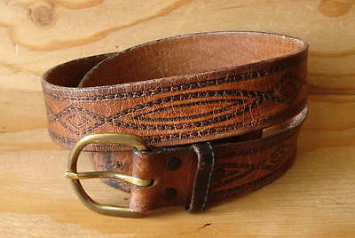 Vtg Hippie Western Distressed Tooled Brown Leather Belt & Buckle Size 36
