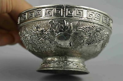 Collectible Handwork Old Miao Silver Carve Dragon & Phoenix Exorcism Lucky Bowls