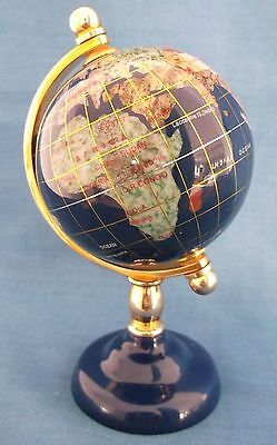 Blue Lapis Gemstone Globe Blue Stand Small Table Top Desk Size