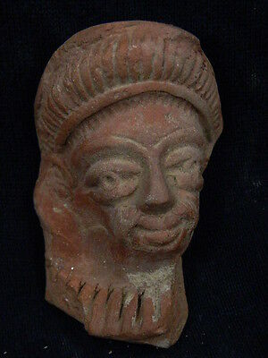 Ancient Teracotta Head Bactrian C.300 BC  #TR6016