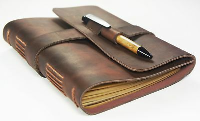 Leather Journal Travel Diary with Bamboo Style Pen - Artisan Grade - Handmade...