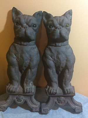 Antique Howes Boston Terrier French Bulldog Andirons Firedogs Glowing Eyes