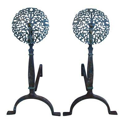 Delightful Circa 1940s Forged Iron & Brass Medallion Andirons- A Pair