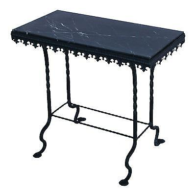 Cute 1930s French Iron & Marble Accent Table