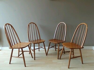 4 Vintage mid century 60s Windsor stick back dining chairs ERCOL STYLE -DELIVERY
