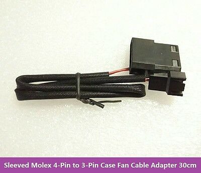 Sleeved Molex 4 Pin LP4 to 3 Pin Cooling Case Fan Cable Converter Adapter 30cm