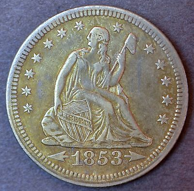 1853 Seated Liberty Quarter CH XF Arrows and Rays