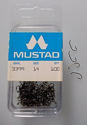 Mustad 3399, Sproat Hook, Size 14, Package of 100, Made in Norway, Fly Hooks