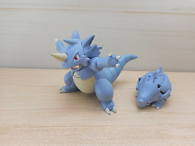 Pokemon Zukan Figure Rhyhorn Rhydon 1/40 Scale Set No base Tomy