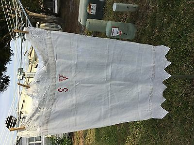 Heavy nubby primitive Antique French linen towel with lace top & bottom