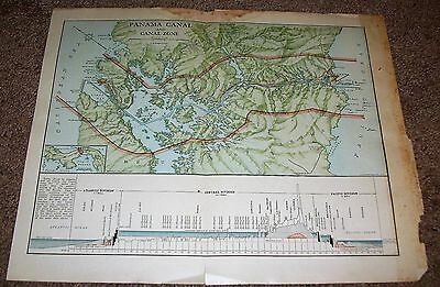 """Antique Vintage Panama Canal & Canal Zone Map 1919   11 1/4"""" X 14"""""""