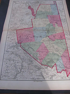 Original 1877 Map Of Carroll County, New Hampshire Hand Coloring