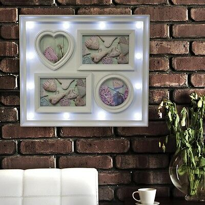 4 Opening White Home Wall Decor Plastic Picture Photo Frame with LED Light New