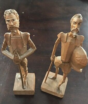 2 Vintage OURO Artesania Wooden Carved Figures Don Quixote No. 1021 & 3704