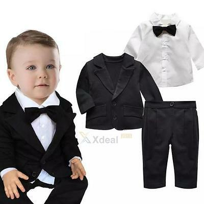 3PCS Newborn Toddler Baby Boy Gentleman Coat+Pants+Shirt Outfit Clothes Set Suit
