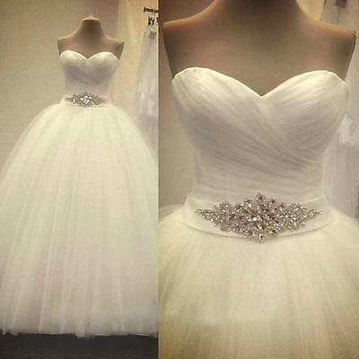 Fashion White Ivory tulle wedding dress bridal gown size 6 8 10 12 14 16 18