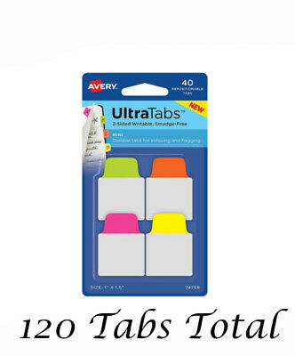 """Lot of 2 Avery Ultra Mini Tabs Two Sided 1.5"""" H x 1"""" W Removable Neon 40 pc"""