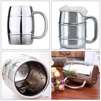 BARREL STAINLESS STEEL Camping 2x Wall Insulated Cup Tea LARGE COFFEE BEER MUG