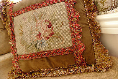 "15"" Vintage Design Decorative Sofa Chair Handmade Needlepoint Cushion Sham"