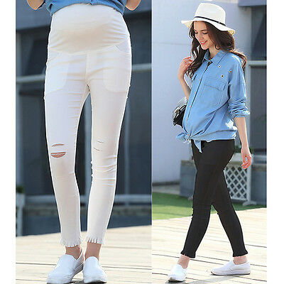 Skinny Trousers Tight Pants Overbumped W/ Cotton Band Slim Comfy Cute 8 10 12 14
