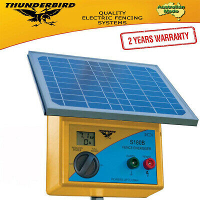 New Thunderbird Solar Electric Fence Energiser. S180B 20 km Self Contained 1309
