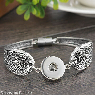 5PC New Fashion Silver Plated Snap Button Snap Bracelet for Women