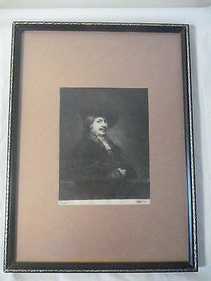 Etching on paper. Portrait of Rembrandt by Waltner SC. Ca. mid to late 1800's