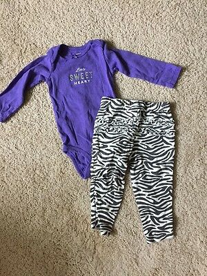 2 Piece Carter's Outfit with Long sleeve Bodysuit and Ruffle Pants - 12 Months
