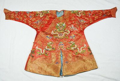 18th-19th ANTIQUE CHINESE SILK EMBROIDERY ROBE QING DYNASTY GOLD MRTAL THREAD