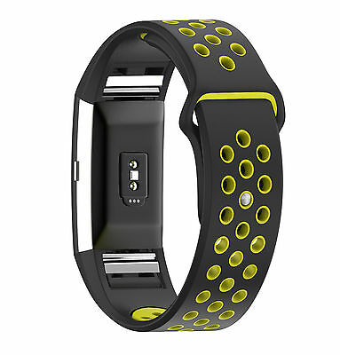 Black Yellow Silicone Watch Band Strap Bracelet Wristband for Fitbit Charge 2