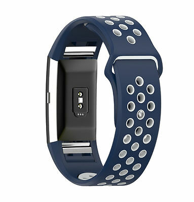 Grey Blue Silicone Watch Band Strap Bracelet Wristband for Fitbit Charge 2