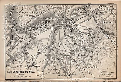 1897 Baedeker Antique Map-Benelux-Environs Of Spa