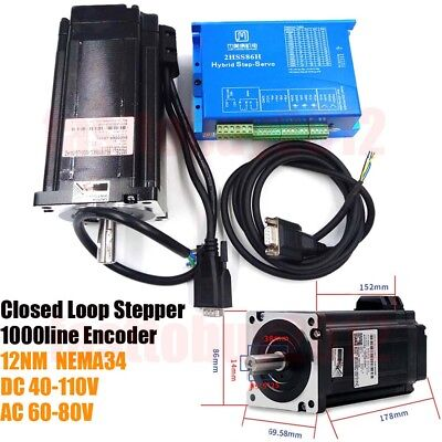 Closed Loop Stepper 2ph 86mm NEMA34 12N Encoder Motor+Drive Kit JMC 6A 1000line