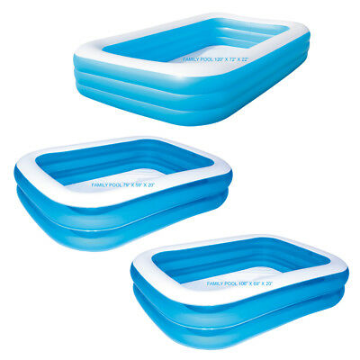 New Rectangular Swimming Pool Bestway Family Fun Garden Blue Splash Paddling