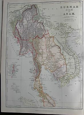 1882 Large Antique Map - Indochina, Burma, Siam And Anam