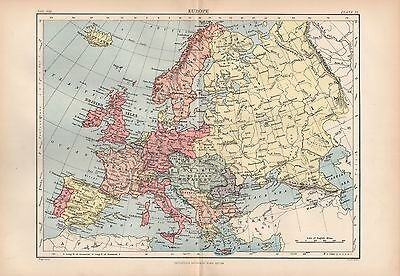 1880 ca ANTIQUE MAP- EUROPE, GENERAL MAP