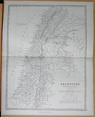 1874  Large Antique Map - Johnston- Palestine, Or The Holy Land