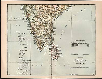 1900 Ca ANTIQUE MAP- INDIA - SOUTHERN PART