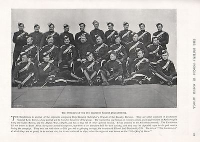 1900 ANTIQUE PRINT-BOER WAR-OFFICERS OF THE 6th DRAGOON GUARDS (CARABINIERS)