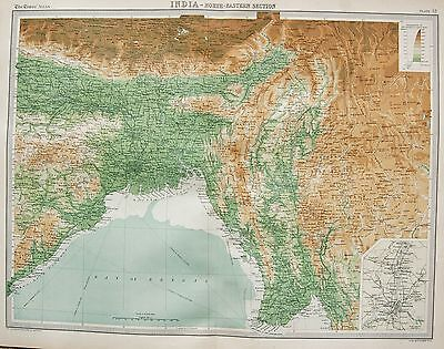 1920  Large  Map : India North Eastern Section Calcutta