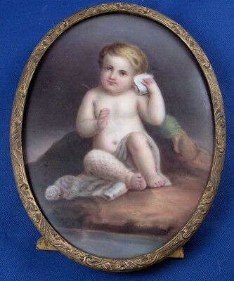 Antique German Porcelain Child @ Beach Scenic Plaque Porzellan Bild Scene French
